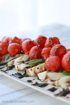 Watermelon Caprese Salad with Balsamic Glaze
