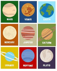 """Solar System Art // Planets Wall Decor // Art for Space Room // Space Art Prints // Solar System Nursery Art // 10 piece 8""""x10 PRINTS ONLY"""