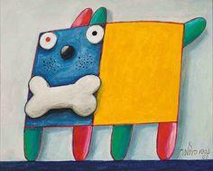 Cachorro colorido com osso na boca