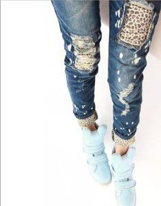 Jeans-Imprime-Leopard-Troue-Finition-Blanc-Jeans-Pantalon-Froisse-Style-Crayon