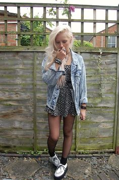 Ebay White Creepers, H Black & White Flowery Dress, Vintage Acid Wash Denim Jacket
