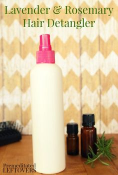 Homemade Lavender and Rosemary Detangling Spray Tutorial: DIY detangling spray to remove tangles in hair. This detangling spray uses natural ingredients
