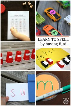 These 11 spelling ideas make spelling fun and games. All will sneak a little education into unsuspecting engaged participants. Spelling Games, Spelling Activities, Craft Activities For Kids, Literacy Activities, Educational Activities, Spelling Ideas, Literacy Centers, Family Activities, Learning Tips