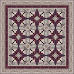 Chelsea Quilt @ JinnyBeyer.com.  Off-center log cabin with cornerstones and wide and narrow logs to create curve.