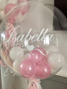 Personalised Bubble Balloon in a pink & white theme with tassle tail for baby girl's Christening day.