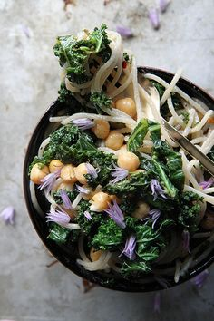Pasta with Shredded Kale, Garbanzo Beans, Lemon and Garlic