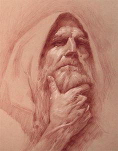Retrato de un hombre anciano realizado por Michael C. Hayes con sanguina.
