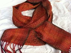 Medallion Stitch Burnt Orange Handwoven Scarf Weft by estherbudd, $175.00