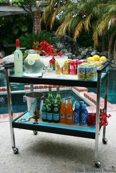 Bar cart out by the pool. Perfect for Summer!
