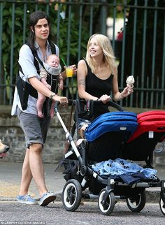Happy families: Peaches Geldof and husband Thomas Cohen headed out in the London sunshine with sons Astala and Phaedra during the week.