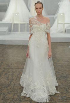 Monique Lhuillier Spring 2015 Wedding Dresses | TheKnot.com | Beaded & Lace Appliquéd Silk Tulle A-Line Bridal Gown... Shown With Coordinating Topper/Bolero/Capelet