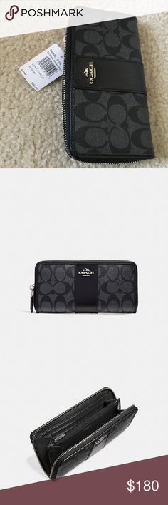 """NWT Coach Accordion Zip Wallet. Offers Accepted 😃 NWT Open to offers 😃😍  Accordion Zip Wallet   MSRP $250! STYLE NO. F54630 Silver/Black Smoke Signature coated canvas with leather trim 12 credit card slots Full-length bill compartments Zip coin pocket Zip-around closure 7 1/2"""" (L) x 4"""" (H) Fits all phone sizes up to an iPhone X and Samsung S7 Edge Coach Bags Wallets"""