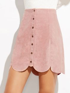 Shop Pink Suede Button Up Scallop Panel Skirt online. SheIn offers Pink Suede Button Up Scallop Panel Skirt & more to fit your fashionable needs.