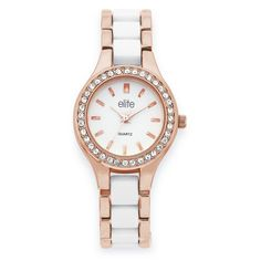 Elite Ladies Rose Tone & White Fashion Watch with Stone Set Bezel