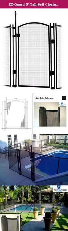 EZ-Guard 5' Tall Self Closing / Self Latching Pool Fence Gate. Available in Black only. The best priced Self-Closing Self-Latching gate on the market today. The benefits of our gate system are: MagnaLatch Patented magnetic self-latching - No mechanical jamming during closure Exceeds international barrier/safety code - Unprecedented reliability and safety Quality molded polymers and stainless steel - No rust, binding or staining Key Lockable - Added safety and peace of mind Lifetime…