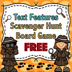 Text Features Scavenger Hunt Game {FREE} contains 27 text features game cards and a game board to help students practice finding various text features in nonfic