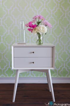 Our White Lacquer Mid-Century Nighstand with a great mason jar bouquet