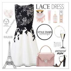 """Lace Dress"" by rever-de-paris ❤ liked on Polyvore featuring mizuki, Coast, Alexander McQueen, Aquazzura, Bare Escentuals, Herbivore Botanicals, Lancôme, L'Oréal Paris, Isaac Mizrahi and Riedel"
