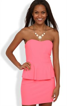 Deb Shops #neon #peplum #dress