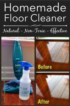Homemade Natural Floor Cleaner That Actually Works! Use this on your laminate and tile floors, even windows, counter tops, and stainless steel appliances for a clean, streak-free shine!