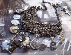 It's a New Dawn Rhinestone Bib Vintage French Medals by angels9, $106.00