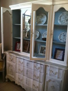 White Shabby French Provincial Hutch w/ Pale Blue by Gypsyfleurs, $450.00