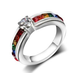 Gay Pride Rainbow Rhinestone Ring