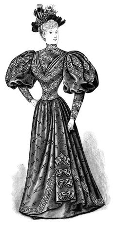Black And White Clip Art Edwardian Fashion Vintage Dress Clipart Victorian Lady