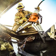 Firefighter Justin Fish captured leading an emergency rescue training in Medford, Oregon.
