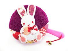 Pocket Mirror Rabbit Bunny holding Heart Purple Japanese Kimono Chirimen Fabric Valentine's Day Wedding Favor