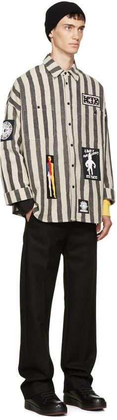 KTZ Black & Beige Striped Overshirt