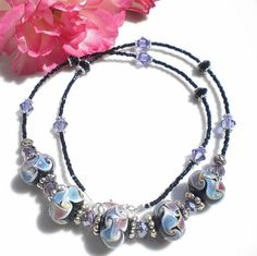 Artisan Lampwork Beaded Necklace w Amethyst & by MagdaleneJewels, $68.00