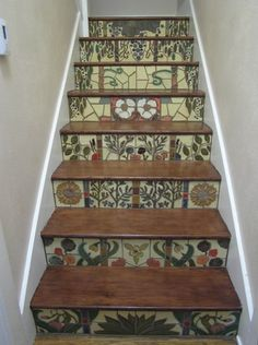 Designs For Stair Risers | Stair Risers: Eclectic Mission Craftsman Glazed Relief Mural Fountain.