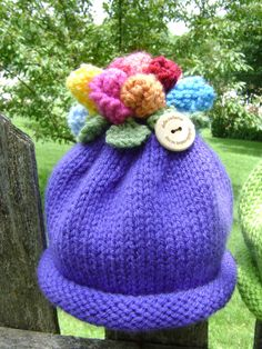 A personal favorite from my Etsy shop https://www.etsy.com/listing/202627034/flower-topped-baby-hat-size-for-6-12