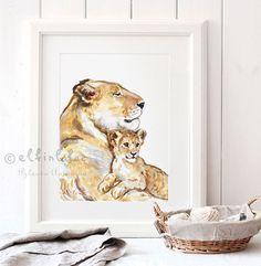 Lion Nursery Print Lion wall artBaby Lion Art by ElfinLilac