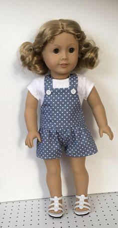 Gray and white polka dot overalls by MySewYouCreations on Etsy. Made from the Drop Waisted Shortalls pattern, found at https://www.pixiefaire.com/products/summer-camp-collection-drop-waisted-shortalls-18-doll-clothes. #pixiefaire #dropwaistedshortalls