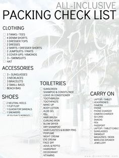 This is seriously the ultimate packing list. You won't