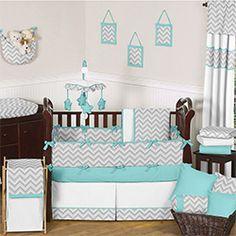 Sweet JoJo Designs Grey and Turquoise Zig Zag 9-Piece Crib Bedding Set