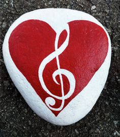Music note heart painted rock