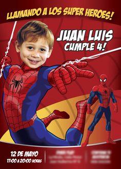 Ejemplo. Invitacion Spiderman en español. Sí tienes una buena foto de tu niño y el es fanático del increible Spiderman: Conviértelo en Hombre Araña para que sea el protagonista de su Invitación de Cumpleaños. Ideas Personalizadas Hombre Araña. Invitación con Foto y Spiderman. #myheroathome #spidermanespanol #spidermanspanish #cumplespiderman