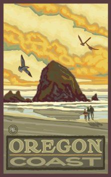 "Northwest Art Mall 11"" x 17"" Poster Haystack Rock Oregon Coast by Paul A. Lanquist"