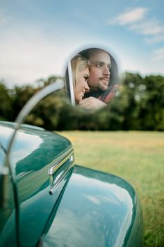 Country & Vintage Inspired Engagement Photo Shoot. I Love this Photo of the reflection in the vintage truck mirror.