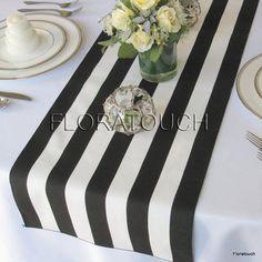 Black and White Striped Table Runner #WeddingIdeasBlackAndWhite