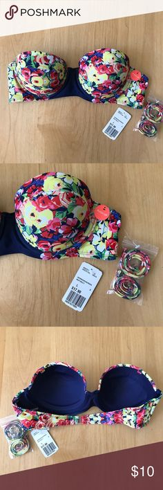 Forever 21 JR bandeau push up swim top size Large Digitally printed floral and navy solid bandeau, push-up swim top, molded cups, adjustable neck strap & back hook. Paint with a navy low rider bottom, cut offs or jeans. Take sun screen with you when you head out for super summer fun! Forever 21 Swim