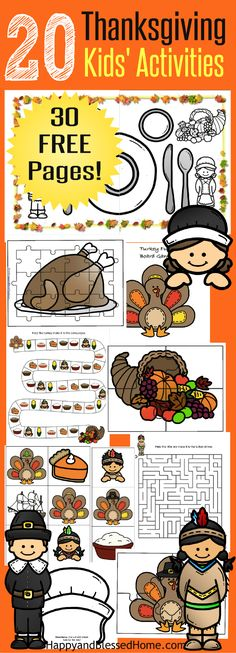 """This FREE 30 Page Thanksgiving Activities for Kids Printable Pack includes over 20 Activities (30 Pages) A great idea to DIY your own crafts! 4 Puzzle Pages, 8 Coloring Pages, 4 Hats, 1 Turkey themed Board Game with matching Dice, 2 Mazes, 24 Flashcards for a Matching, """"Go Fish"""" or memory game, name tags for place settings, and kids' activity Thanksgiving placemat. Ad #CoffeeCreamerCombos"""