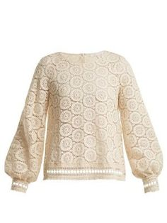 Geometric-lace cotton blouse | See By Chlo? | MATCHESFASHION.COM