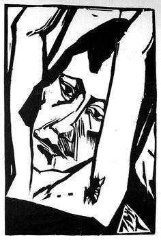 Head of a girl, Erich Heckel (Germany, Germany, Prints, Woodcut on wove paper. Harvard Art Museum, Museum Of Fine Arts, Henri Rousseau, Berlin Spree, George Grosz, Expressionist Artists, German Expressionism Art, Milwaukee Art Museum, Franz Marc