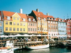 The 17th century waterfront area of Nyhavn in Copenhagen, Denmark, is home to restaurants, cafes and museums.