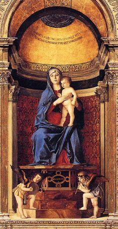 Giovanni Bellini - Trittico dei Frari, 1488, olio su tavola, pannello centrale con la Madonna col Bambino, Venezia, Basilica di Santa Maria Gloriosa dei Frari.