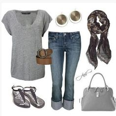 FEEL COMFORTABLE IN APPAREL COMBINATION WHERE PREVAILING SHADES OF GRAY #classicapparel #casual #outfitideas #wear #style #look #clothes #womensfashion #womensclothes #womensstyle #outfitinspiration #womensshirt #jeans #womensjeans #womensshirt #bag #scarf #sandals #earrings #belt
